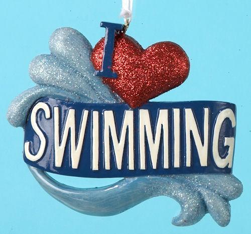 i heart swimming ornament