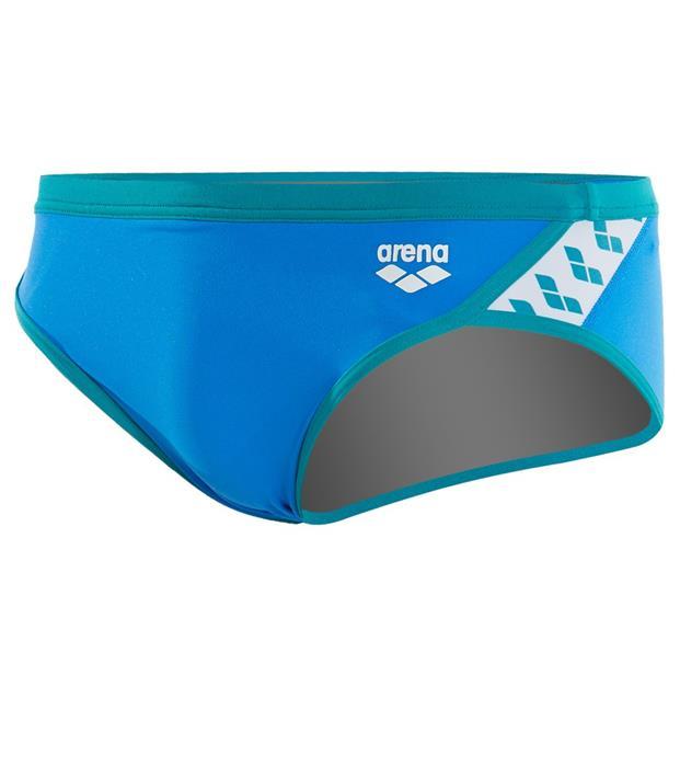 0b1f0cffdb Arena Men's Team Stripe Brief Swimsuit- Pix Blue/ Persian Green