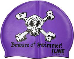 Beware-of-Swimmer-Silicone-Swim-Cap-Purple
