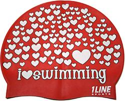 I-Love-Swimming-Silicone-Cap-Red
