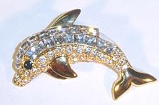 Crystal Dolphin Pin