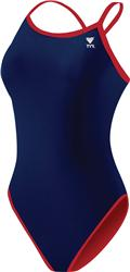 Tyr Lycra Solid Reversible Diamondfit - Navy/Red