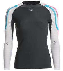 Arena Women's Carbon Compression Long Sleeve- Deep Grey/White
