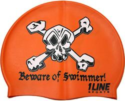Beware-of-Swimmer-Silicone-Swim-Cap-Orange